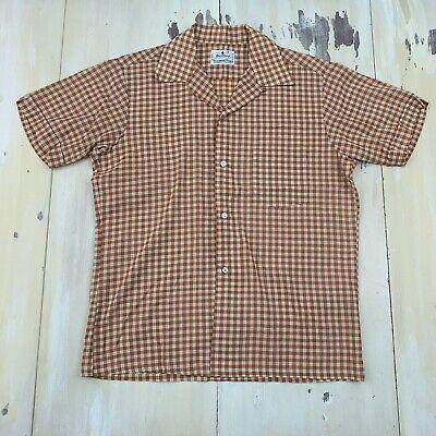 VINTAGE WORKSHIRT NEW 50s-60s Brown L//S Button-up Workwear MENS 46 XL-2XL