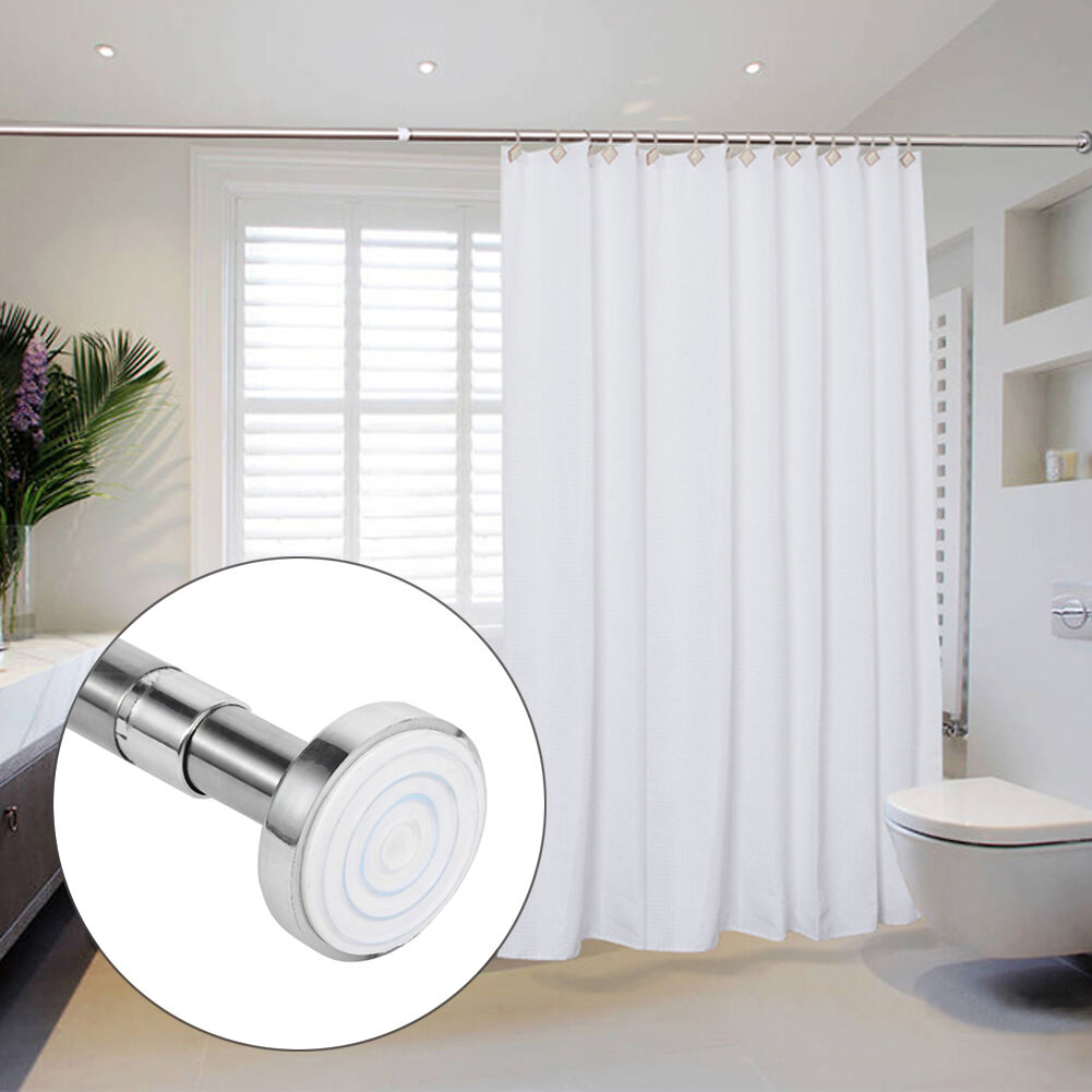 Extendable Bathroom Telescopic Shower Curtain Rail Pole Rod 2 Year Warranty Uk