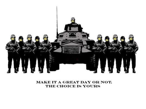 Glossy Photo print A4 or A5 size make it a great day. Banksy Army /& tank