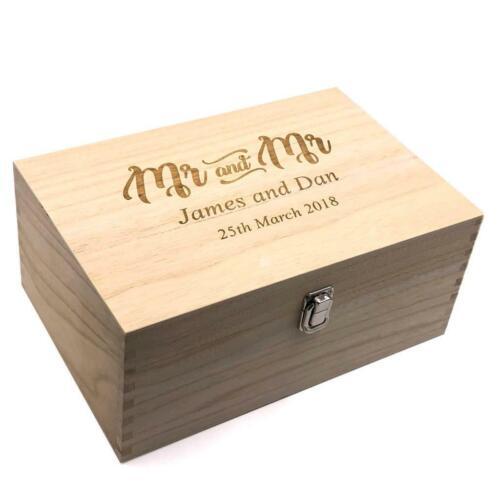 Personalised Mr /& Mr Wedding Gift Same Sex Wooden Memories Keepsake Box HB-94