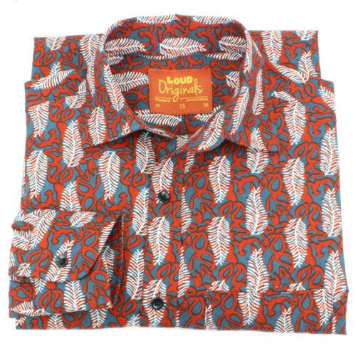Homme haut shirt retro psychédélique parti block print regular rouge plumes