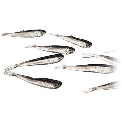 10Pcs 75mm 2.3g Soft Silicone Tiddler Baits Fish Fishing Saltwater Lures Tackle