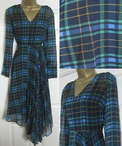 NEW-M-amp-S-Holly-Willoughby-Tartan-Checked-Fit-amp-Flare-Midi-Dress-Asymmetric-6-24