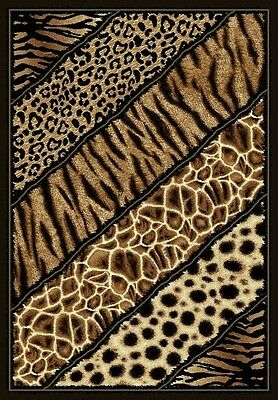 6' X 8' AFRICAN SAFARI ANIMAL SKINS PRINT LINES HIGH QUALITY DENSITY AREA RUG