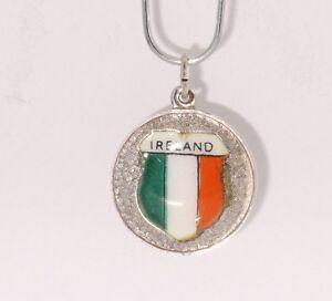 Sterling-Silver-925-Ireland-Irish-Flag-Enamel-Pendat-Charm-Vintage-Estate