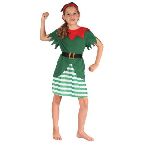 Piccolo Verde Helper Ragazze Babbo Natale Ragazza Costume-Costume Vestito da Elfo