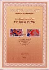 """BRD ETB 8-89 MiNr 1408-1409 """"Sporthilfe 1989"""": WM im Kunstturnen undTischtennis"""