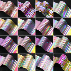 16-Stueck-Set-Nagelfolien-Rose-Flower-Patterns-Holografisch-Transfer-Sticker