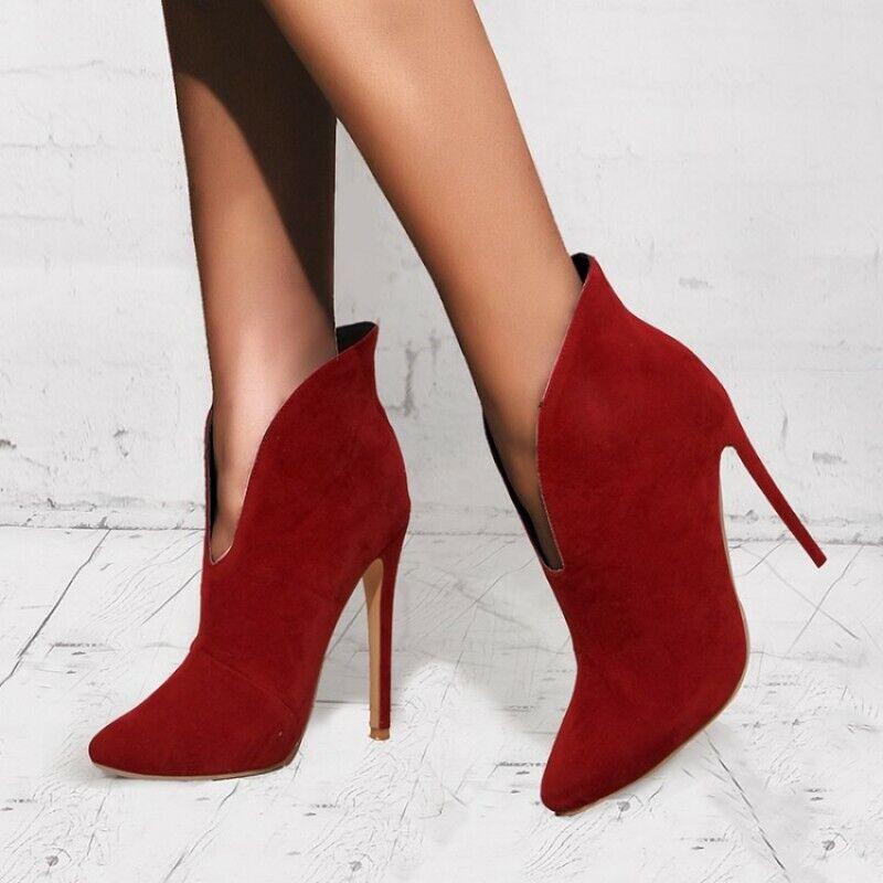 Gr.35-43 Schlupf V- Cut Stilettos Spitz  Damenpumps OL Office Ankle Stiefel Sexy