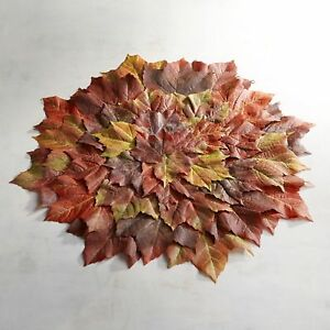 NWT-PIER-1-set-of-4-round-fabric-leaf-place-mats-FALL-HALLOWEEN-THANKSGIVING