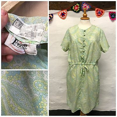 ORIGINAL VINTAGE 70s EVANS DRESS PASTEL GREEN GROOVY PAISLEY PLUS SIZE 20