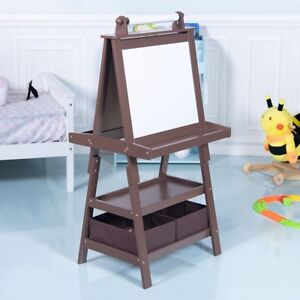 Details About Unisex Kids Wooden Standing Art Easel Black Whiteboard With Storage Box Brown Us