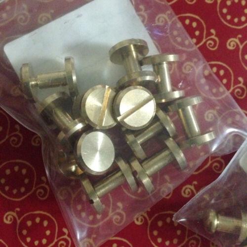 20Pcs Brass Binding Screw Chicago Nail Stud Rivet Interscrew Belt Shoe Gold New