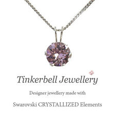 "18"" Sterling Silver Necklace w 1 Carat Swarovski Light Amethyst Purple Crystal"