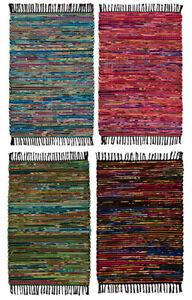 Namaste-doux-coton-recycle-amp-Polaire-Chindi-Rugs-60x90cm-Commerce-Equitable-Fait-Main
