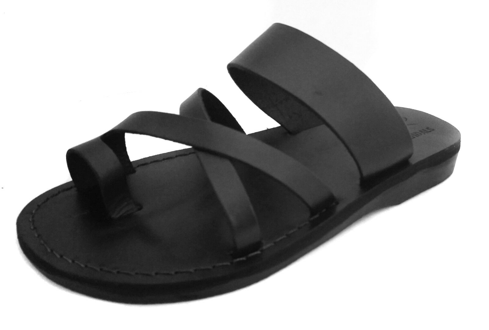 Black Leather Jesus Sandals For Men Strap Handmade Thongs UK (6-11) EU (40-46)