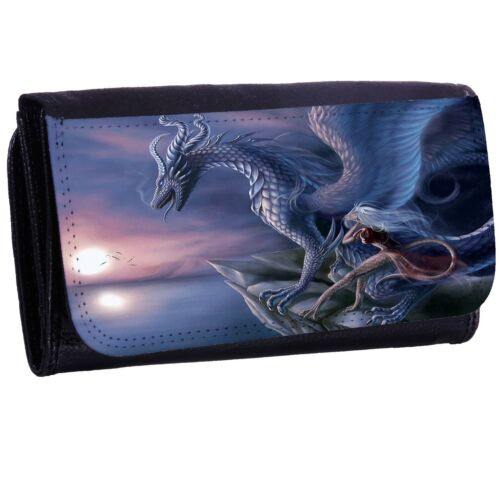 Blue Dragon Bi-fold Zipper Bill /& Card Holder Long Wallet