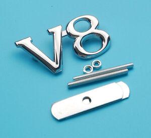 Nuevo-V8-Metal-Parrilla-Frontal-parrilla-insignia-emblema-calcomanias-Capucha-coche-de-cromo