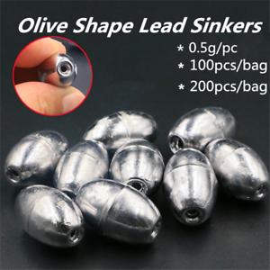 100pcs-200pcs-0-5g-Olive-Shape-Lead-Sinkers-Fishing-Tackle-Accessories