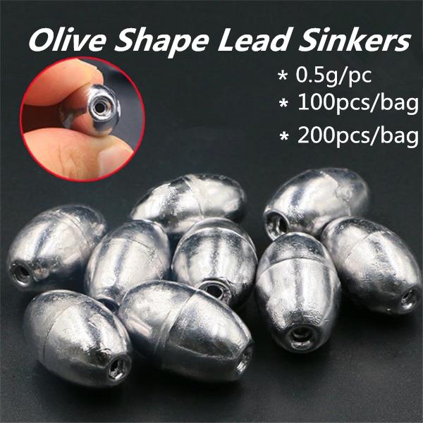 100pcs olive shape lead sinkers pure lead making fishing sinker TO