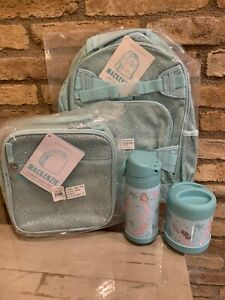 Pottery Barn Kids Aqua Glitter Backpack Lunchbox Mermaid
