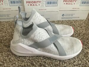 Details about Puma Womens Fierce Evoknit Slip On Sneaker Grey Pink White Size 8.5