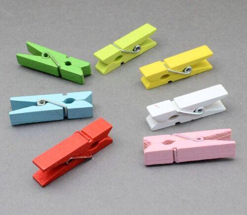100 Kleine Holzklammern Mini Wäscheklammern 25mm Bastelklammern Bunte BEST DEK29