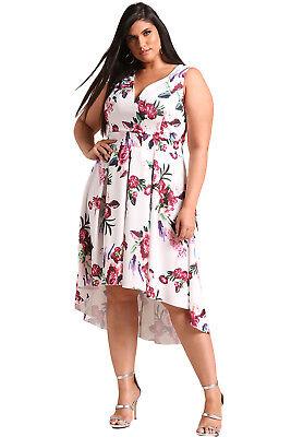 New Ladies Plus Size All Over Floral Print Pebbel Chocker Neck Dress 16-22
