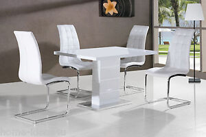 Image is loading New-Stunning-Maxi-White-High-Gloss-Dining-Table- & New Stunning Maxi White High Gloss Dining Table + Dining Chairs | eBay