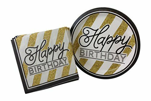 Gold Balloons Adults /& Children/'s Happy Birthday Napkins,Plates,Tablecover,Decs