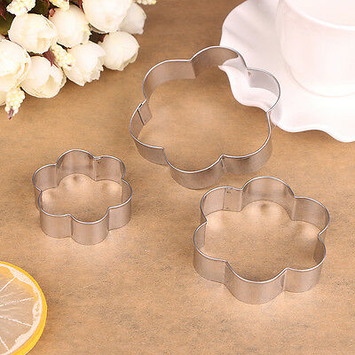 3pcs Heat Flower Star Stainless Steel Biscuit Candy Cake Mold Cookie Cutter Set