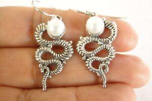 White-Cultured-Pearl-Coiled-Snake-Cobra-925-Sterling-Silver-Dangle-Earrings