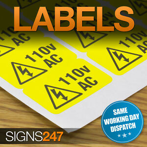 ELECTRICAL-WARNING-STICKERS-self-adhesive-yellow-labels-AC-110V
