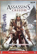 Assassins Creed 3 Raro Nintendo Wii U 51,5 cm X 73 Cm Japonesa Promo Poster