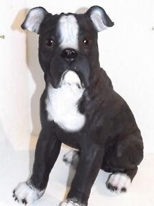 Schwarz Weiße Bulldogge Welpe Dekofigur Hund Tier Polyresien Innen