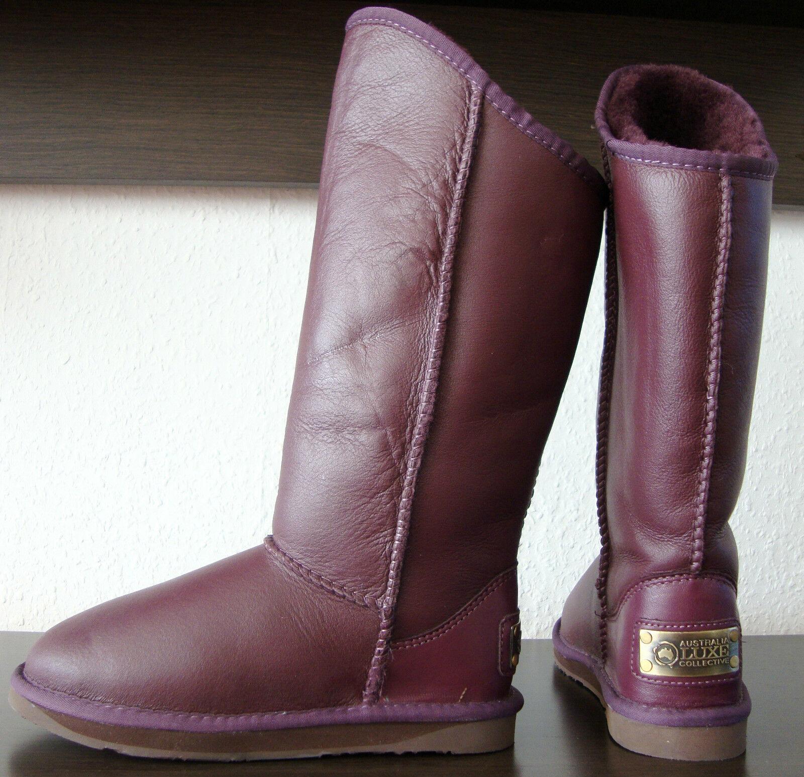 Australia Luxe cosy Tall botas señora botas zapatos de piel lila nuevo