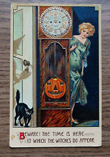 OLD ISL CO HALLOWEEN POSTCARD with CLOCK PUMKIN WITCH & BLACK CAT - GERMANY