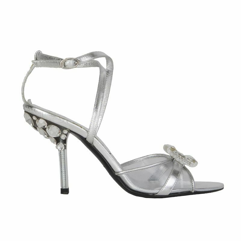 53680 auth CHRISTIAN DIOR silver leather EMBELLISHED EMBELLISHED EMBELLISHED Sandals shoes 36 9e6fc1