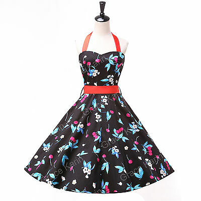 New Rockabilly 50s Retro Vintage Jive Swing Housewife Cocktail Prom Short Dress