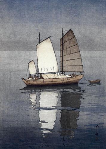 Sailing Boats Afternoon 15x22 Japanese Print by Yoshida Asian Art Japan