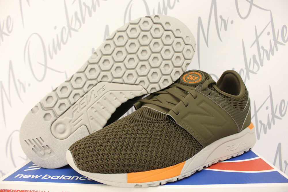 NEW BALANCE SHOE 247 SZ 9 RUNNING SHOE BALANCE OLIVE GREEN ORANGE WINTER KNIT MRL247KO 0f9f56