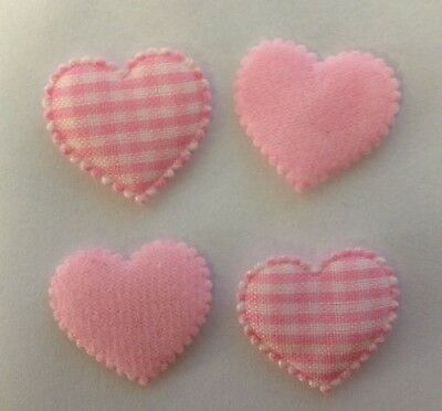 25 PINK GINGHAM FABRIC HEARTS BABY GIRL CARD MAKING SCRAPBOOKING EMBELLISHMENTS