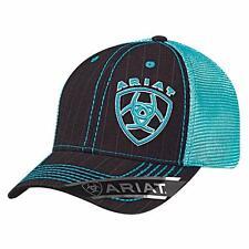 a22f670d7cbb7 Ariat Western Mens Hat Baseball Cap Mesh Snap Back Shield Logo Turq 1507701