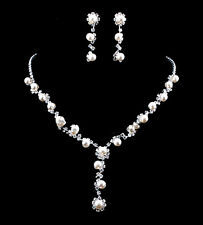 Bridal Pearl Necklace Silver Plated Diamante Crystal Bridal Pearl Jewelry Sets