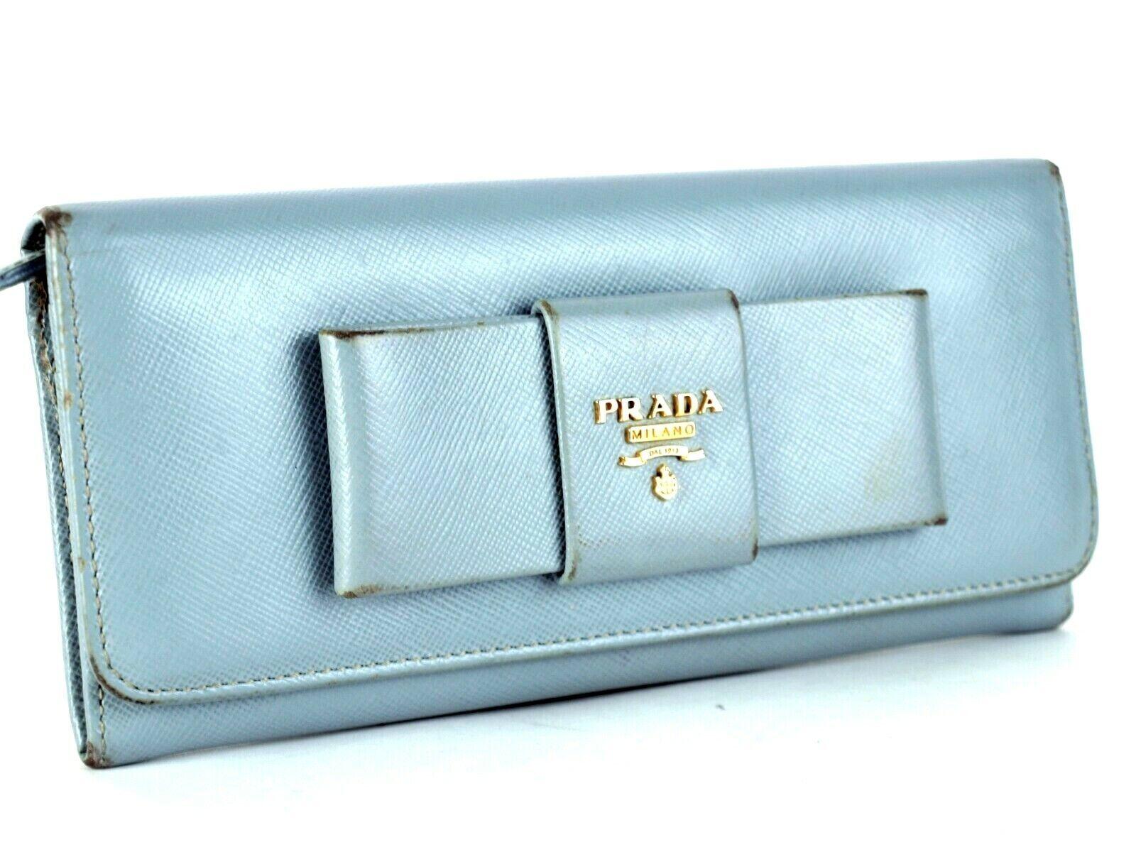 Auth PRADA Milano Logo Embossed Aqua Leather Bi-fold Envelope Long Wallet Italy