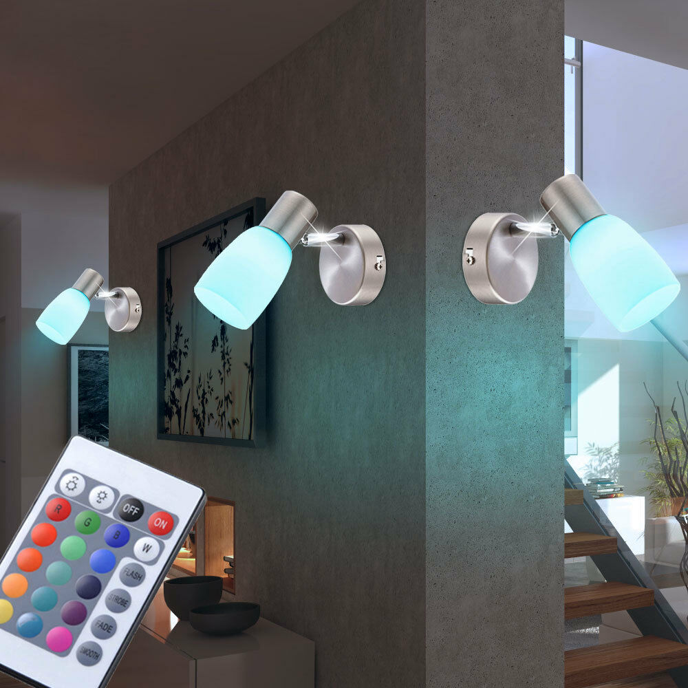 Set of 3 LED WallSpot Bedroom RGB Remote Control Glass Spotlight dimmable modern