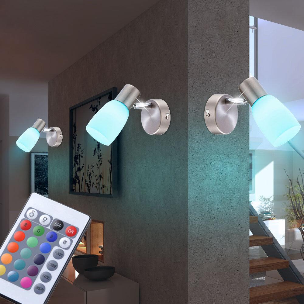 Ensemble de 3 LED WallSpot Bedroom RGB Télécommande Projecteur en verre dimmable