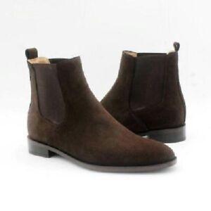 Handmade Men Brown Suede Chelsea boots