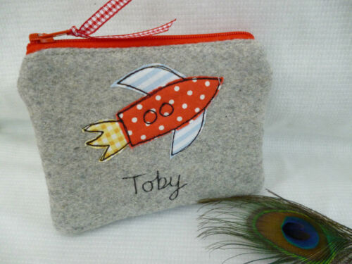 Handmade Personalised Rocket Purse//Wallet or Pencil Case Grey Choice of words