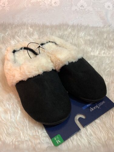 a West Loop Women/'s Slippers Faux Fur  Size Medium Black 1 7//8